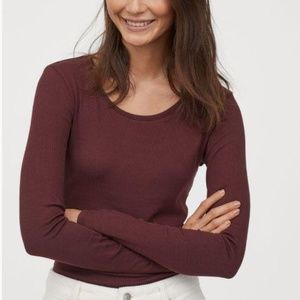 DIVIDED by H&M Long-sleeved Burgundy Jersey Top